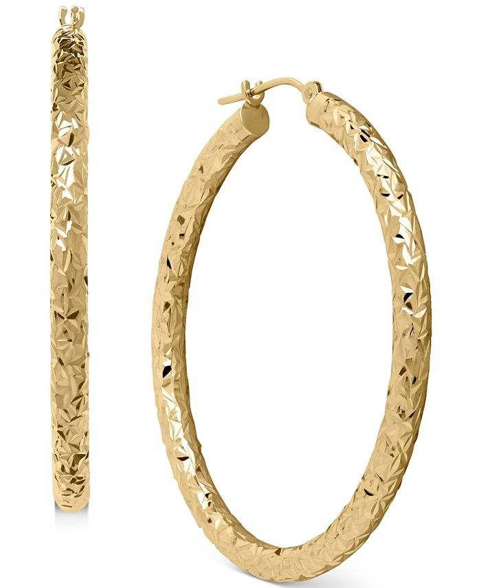 Macy's - Diamond-Cut Hoop Earrings in 14k Gold