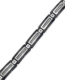 Men's Black Diamond Accent Bracelet in Stainless Steel