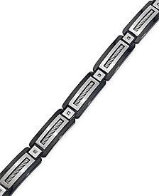 Men's Black Diamond Accent Bracelet in Stainless Steel