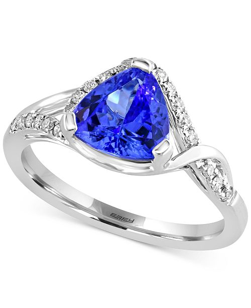 EFFY Collection Tanzanite Royalé® by EFFY Tanzanite (1-1/2 ct. t.w.) and Diamond (1/5 ct. t.w ) Ring in 14k White Gold