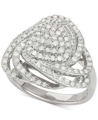 Diamond Triangle Floral Ring (1 ct. t.w.) in Sterling Silver, Created for Macy's