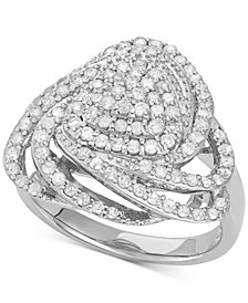 Wrapped in Love™ Diamond Triangle Floral Ring (1 ct. t.w.) in Sterling Silver, Created for Macy's