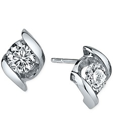 Sirena Diamond Twist Stud Earrings (1/2 ct. t.w.) in 14k White Gold