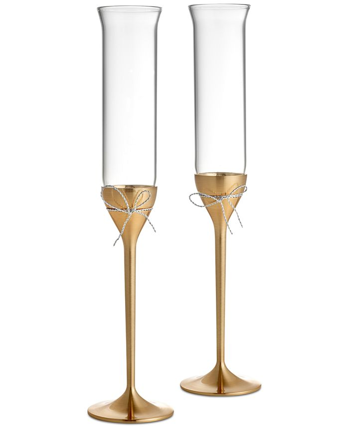 Vera Wang Wedgwood - Wedgwood Gold- & Silver-Plated 2-Pc. Love Knots Toasting Flute Pair