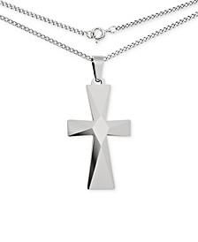 Men's Cross Pendant Necklace in Tungsten