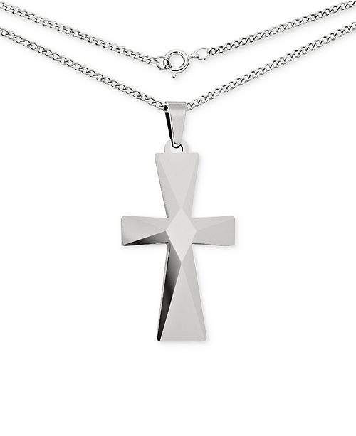 Macys mens cross pendant necklace in tungsten necklaces main image aloadofball Image collections