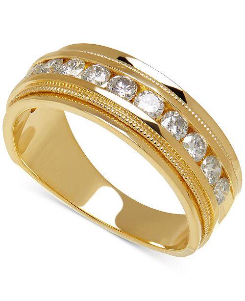 Macy's Men's Diamond Milgrain Band (1 ct. t.w.) in 14k Gold