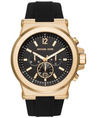 Michael Kors Men\u0026#39;s Chronograph Dylan Black Silicone Strap Watch 48mm MK8445