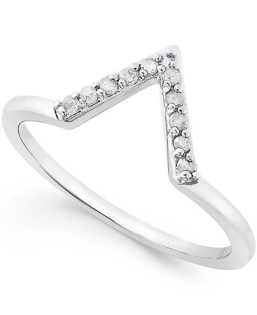 Macy's Diamond V Ring (1/10 ct. t.w.) in Sterling Silver or 18k Gold-Plated Sterling Silver