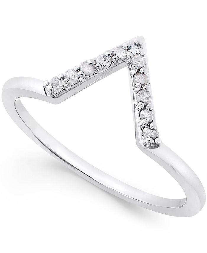Macy's - Diamond V Ring (1/10 ct. t.w.) in Sterling Silver