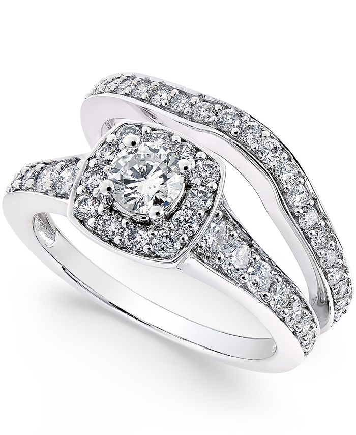 Macy's - Diamond Frame Bridal Set (1-1/4 ct. t.w.) in 14k White Gold