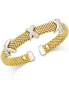 Diamond Mesh X Bangel Bracelet (1/2 ct. t.w.) in 14k Gold-Plated Sterling Silver