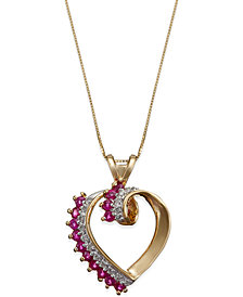 Ruby (3/4 ct. t.w.) and Diamond (1/8 ct. t.w.) Heart Pendant in 14K Gold