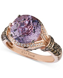 Amethyst (3 ct. t.w.) and Diamond (1/2 ct. t.w.) Ring in 14k Rose Gold
