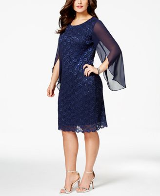 connected plus size angel-sleeve sequined dress - dresses - women