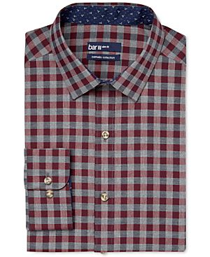 Bar III Carnaby Collection Maroon Gingham Dress Shirt, Only at Macy's