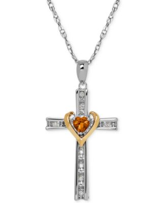 Citrine (1/4 ct. t.w.) and Diamond Accent Cross Pendant Necklace in Sterling Silver and 14k Gold