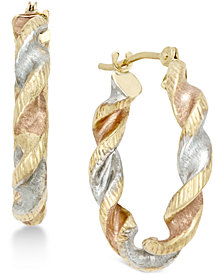 Satin Twist Hoop Earrings in 10k Tri-Tone Gold
