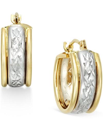 Diamond-Cut Hoop Earrings in 10k Two-Tone Gold