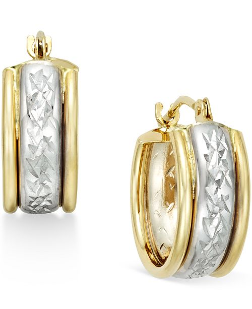 Macy's Diamond-Cut Hoop Earrings in 10k Two-Tone Gold