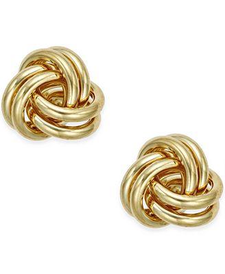 Macy S Love Knot Stud Earrings In 10k Gold Earrings Jewelry
