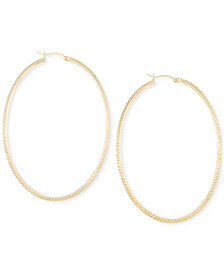 Large Oval Hoop Earrings in 14k Gold Vermeil