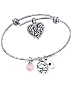 Unwritten I Love You More Charm and Cherry Quartz (8mm) Bangle Bracelet in Stainless Steel