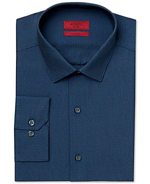 Alfani RED Fitted Performance Medium Blue Bias Stripe Dress Shirt, Only at Macy's