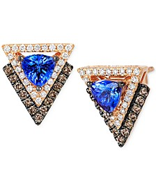 Neo Geo Collection Tanzanite (4/5 ct. t.w.) and Diamond (1/2 ct. t.w.) Geometric Stud Earrings in 14k Rose Gold, Created for Macy's