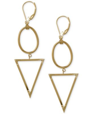 Oval and Triangle Geometric Earrings in 14k Gold Jewelry Watches