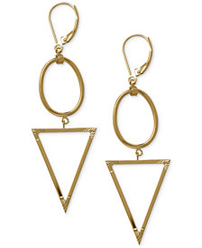 Oval and Triangle Geometric Earrings in 14k Gold