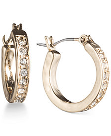 lonna & lilly Gold-Tone Pavé Crystal Hoop Earrings