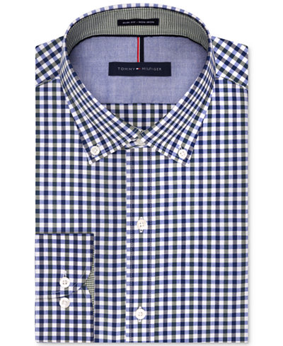 Tommy Hilfiger Slim Fit Non Iron Evergreen Gingham Dress