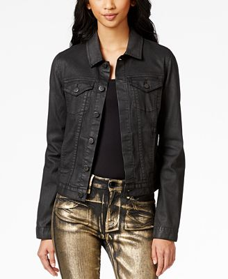 Calvin Klein Jeans Coated Trucker Jacket - Jackets - Women - Macy's