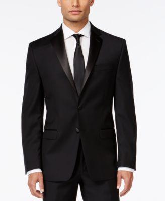 Black Solid Modern Fit Tuxedo Jacket