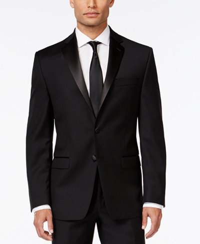 Calvin Klein Black Solid Big and Tall Modern Fit Tuxedo Jacket
