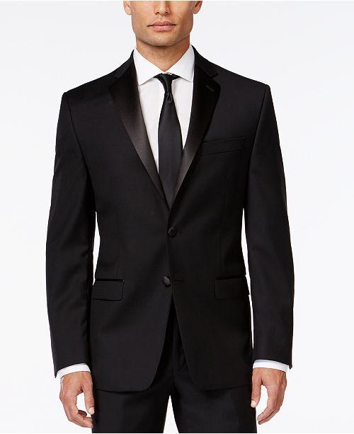 Calvin Klein Black Solid Modern Fit Tuxedo Jacket - Blazers   Sport ... e68f375ebb2b