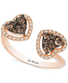 Le Vian Chocolatier® Chocolate Deco Estate™ Diamond Double Heart Open Ring (1/2 ct. t.w.) in 14k Rose Gold
