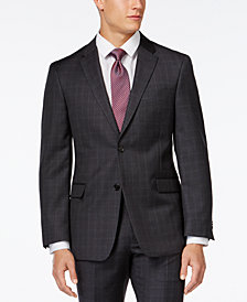 Tommy Hilfiger Charcoal Windowpane Modern-Fit Jacket