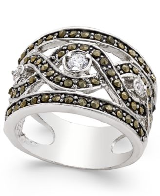 Image of INC International Concepts Silver-Tone Crystal Braided Statement Ring, Only at Macy's
