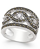 INC International Concepts Silver-Tone Crystal Braided Statement Ring, Created for Macy's