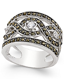 I.N.C. Silver-Tone Crystal Braided Statement Ring, Created for Macy's