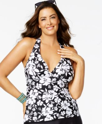 Island Escape Plus Size Floral Cutout-Back Tankini Top