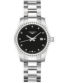 Longines Women's Conquest Diamond (1/2 ct. t.w.) Stainless Steel Bracelet Watch 36mm L34010576