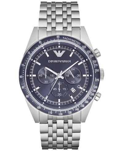 Emporio Armani Men's Chronograph Tazio Stainless Steel Bracelet Watch 46mm AR6072