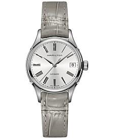 Hamilton Women's Swiss Automatic Valiant Gray Leather Strap Watch 34mm H39415854
