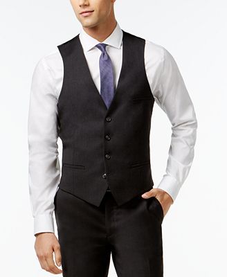Bar Iii Charcoal Solid Extra Slim Fit Vest