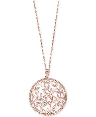 Effy diamond vine pendant necklace 910 ct tw in 14k rose effy diamond vine pendant necklace 910 ct tw in 14k rose aloadofball Choice Image