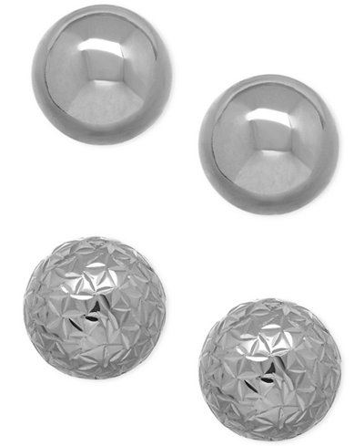 Polished And Crystal Cut Ball Stud Earring Set In 10k White Gold