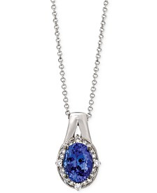 Tanzanite (1 ct. t.w.) and Diamond (1/10 ct. t.w.) Oval Pendant Necklace in 14k White Gold